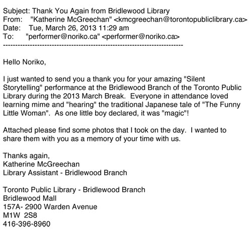 [Fwd_ Thank You Again from Bridlewood Library]